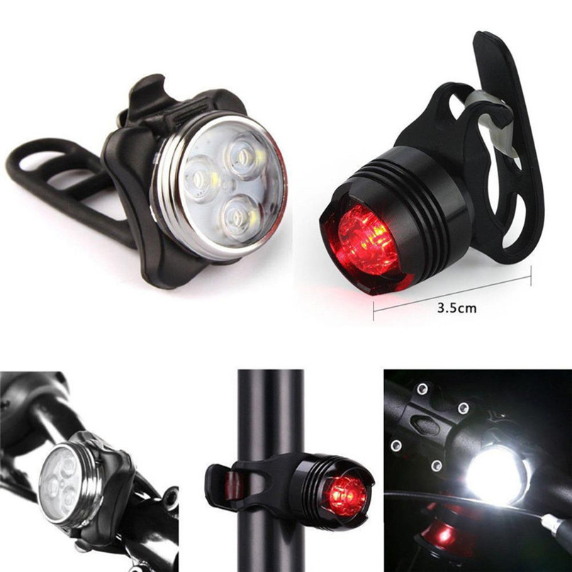 Rechargeable LED Bike Light Bicycle Lamp Set Front Light Tail Light USB Bike Silicone Fastening Rubber Headlight Rear Lamp #2A26