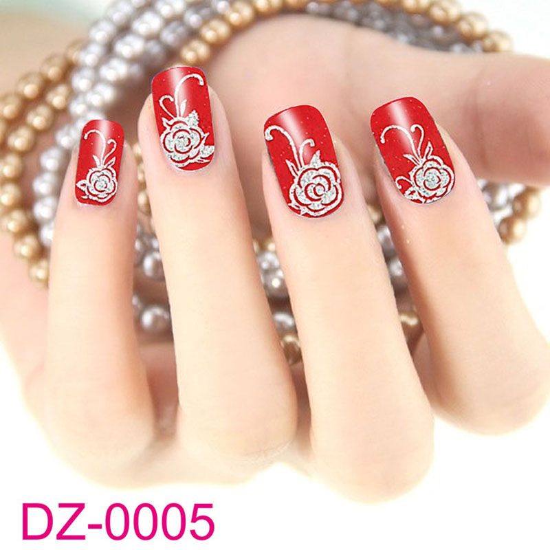 10 sheets Fashion Red Flower Beauty Polish Items Nail Art Decals French Tips Water Transfer Tattoos Stickers Nail Tool random 10 items   fashion 5 outfit   5