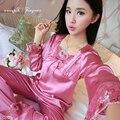 Новое прибытие женщин и ночное белье, атласные пижамы набор цветочные кружева квадратный воротник гостиная носить два куска