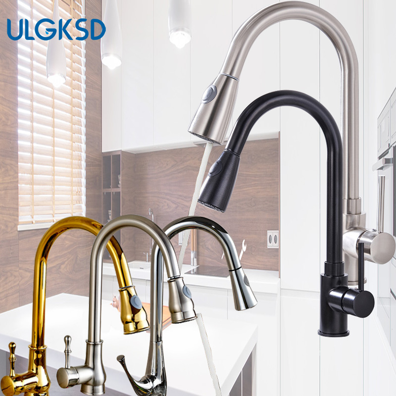 Ulgksd 5 Choice Single Handle Pull Out Sprayer Kitchen Faucet Deck Mounted Hot and Cold Water