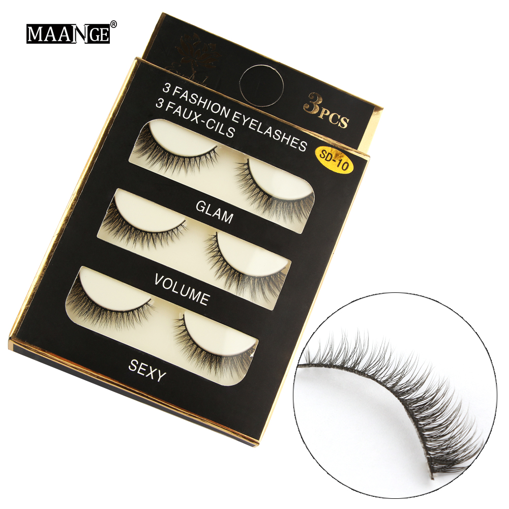 New 3 pairs natural false eyelashes fake lashes long makeup 3d mink lashes extension soft eyelashes for beauty