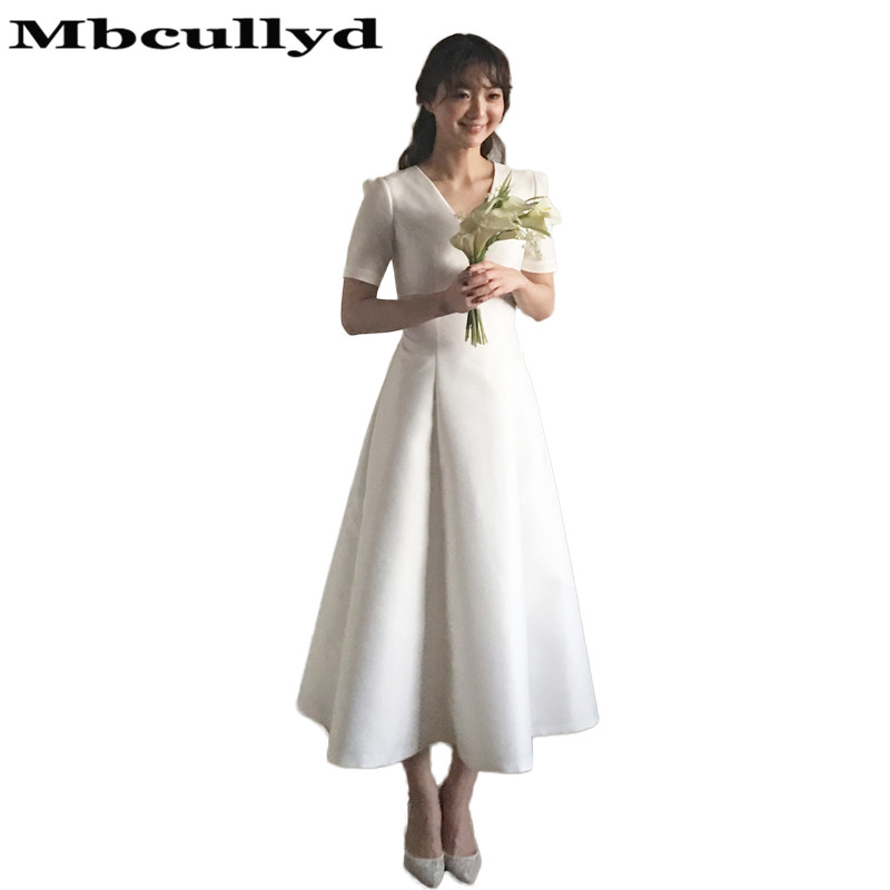 Mbcullyd Vestido De Nova 2020 With Short Sleeves Luxury Satin Wedding Dresses Tea Length Plus size Beach Wedding Gown Cheap Sale