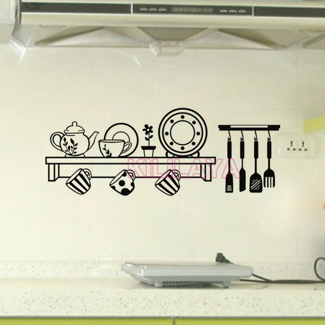 Stickers cuisine shelf vinyl wall decals wallpaper for for Poster deco cuisine