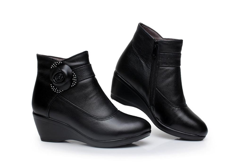 New 2017 women boots women genuine leather winter boots warm plush ...