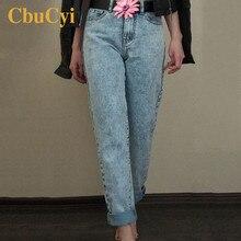 CbuCyi женские длинные джинсы с высокой талией, хлопковые Джинсы бойфренда, женские винтажные свободные прямые джинсы, брюки