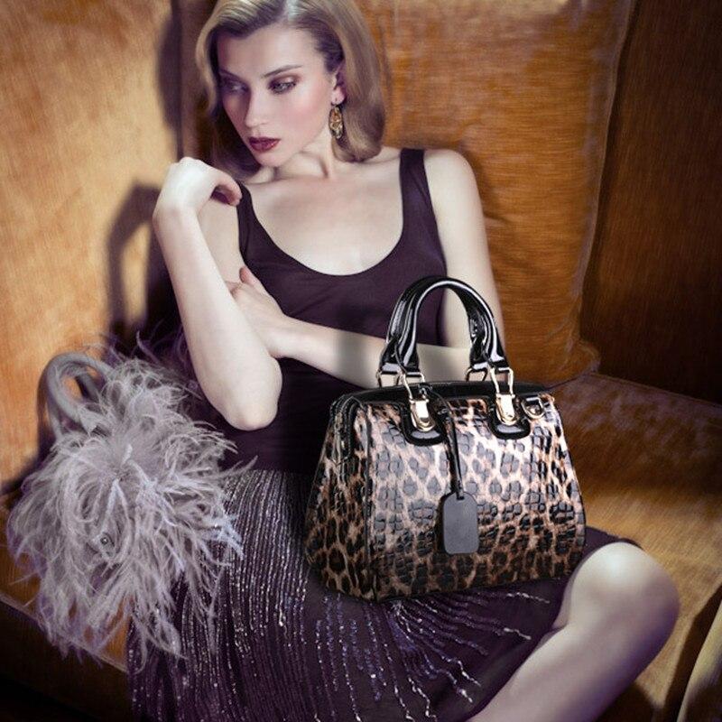 ファッションヒョウ柄革女性ハンドバッグバッグ牛革ビッグトートバッグレディースショルダーバッグ女性のメッセンジャーバッグ〜  13B316    グループ上の スーツケース