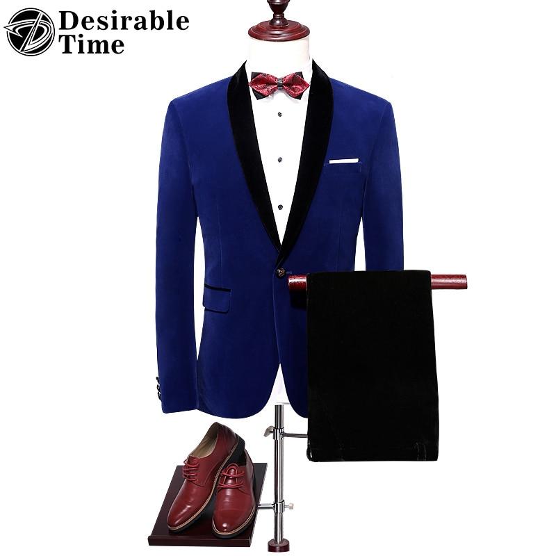Royal Blue Mens Wedding Tuxedo Suit M-4XL Autumn High Quality Shawl Lapel Slim Fit Velvet Men Red Prom Suits DT059