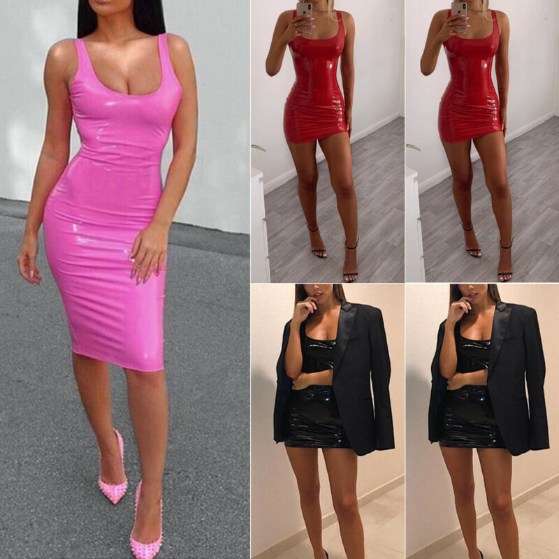 Women PU Leather Mini Dresses Sleeveless Bright Color Sheath Short Dress Sexy Wet Look Club Party Wear Tank Dress Plus Size image