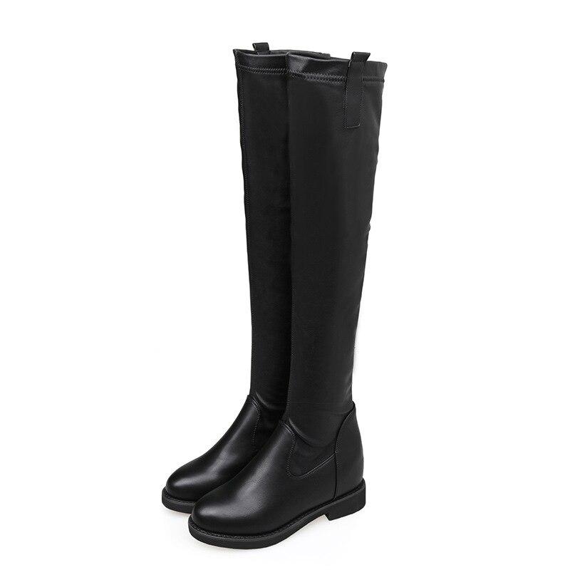 A567 Tombé on De Slip Solide Talon Pu automne Printemps Base Femmes Femme Black Carré Chaussures Bottes Bord Doux Marque cCyKq6PwTT