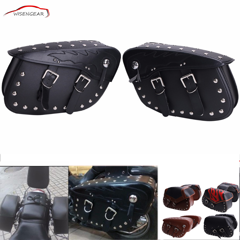WISENGEAR PU Leather Rivet Saddle Bag Tool Bag Panniers Luggage Rack Motorcycle Universal For Harley Honda Yamaha Accessory C/5 cucyma motorcycle bag waterproof moto bag motorbike saddle bags saddle long distance travel bag oil travel luggage case