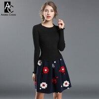 Autumn Winter Runway Designer Womans Dresses Black Knitted Top Dark Blue Bottom White Red 3d Flower