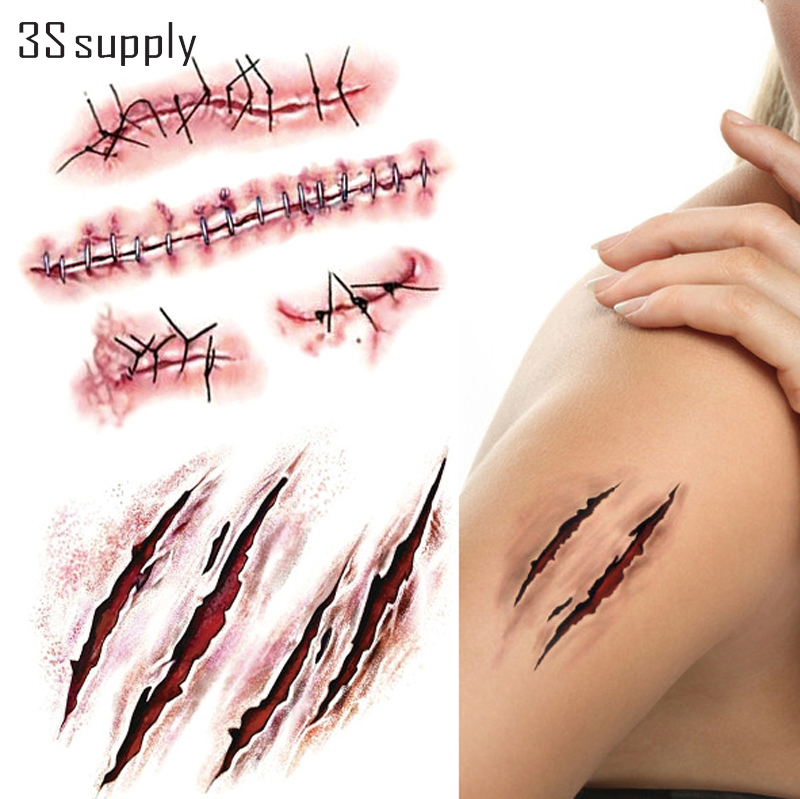 buy 5pcs lot waterproof temporary tattoo stickers halloween stitch wound 3d. Black Bedroom Furniture Sets. Home Design Ideas