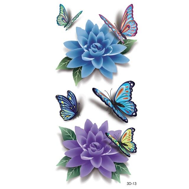 3D Colorful Butterfly Waterproof Body Art Sleeve DIY Stickers ...