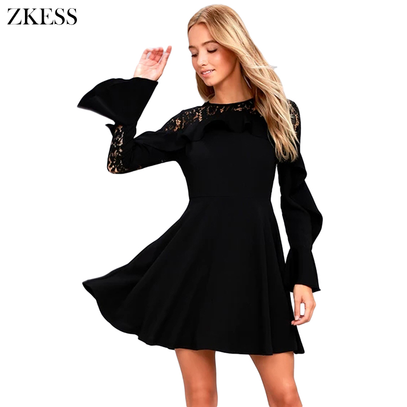 b58ea3914a ZKESS Women Black Long Flare Sleeved Skater Dress Winter New O Neck Sexy Sheer  Lace Back Patchwork Mini Dresses Zipper LC220164-in Dresses from Women s ...