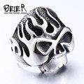 Beier nueva tienda flame skull biker anillo de acero inoxidable 316l de alta calidad heavy metal punk fashion jewelry br8-064