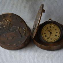 Редкий Старый династии Цин Королевский латунь стекло часы \ Механические карманные часы, может работать, с маркой, западные персонажи
