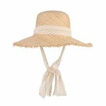 Simple moda mujer sombreros de verano gran sombrero de paja de la rafia  Encaje cinta Encaje-up Sombreros de playa moda señoras P.. 162d82660ac