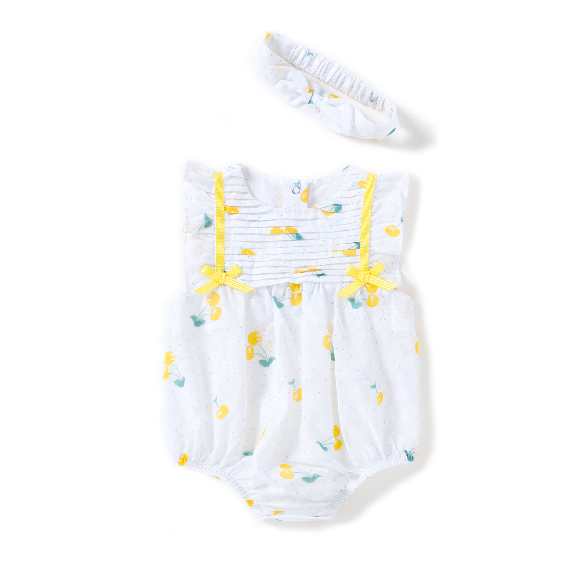 Baby Girls Clothing Sets Summer New Cotton Red/yellow Small Cherry Jumpsuit Bow knot Headband 2pcs Set Baby Girl Clothes Suits