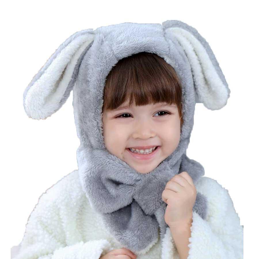 Baby Beanie Warm Hat Kids Children Hooded Scarf Winter Earflap Rabbit Ear Long Velvet Soft Cap Scarves 2018 Child Accessories