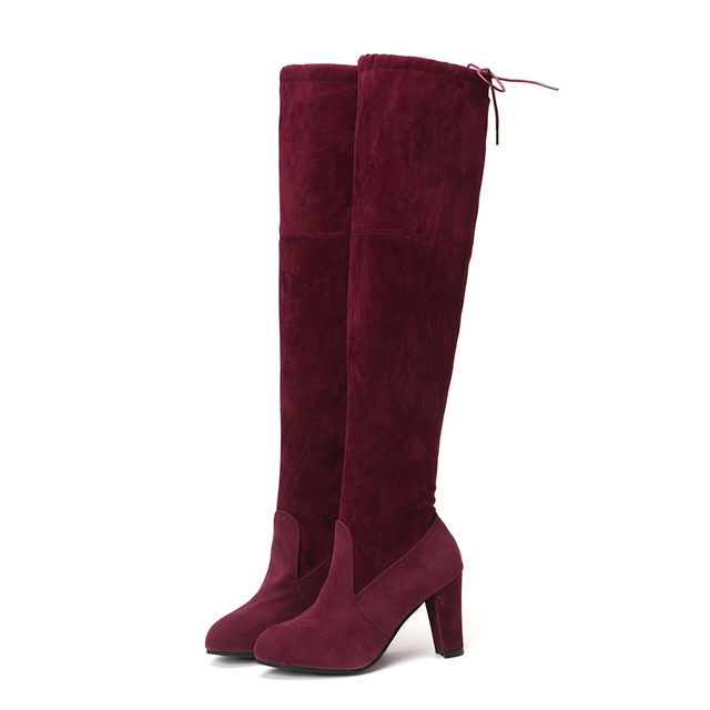 MCCKLE Plus Size Fashion Female Winter Thigh High Boots Faux Suede Leather High Heels Women Over The Knee Shoes Drop shipping 3