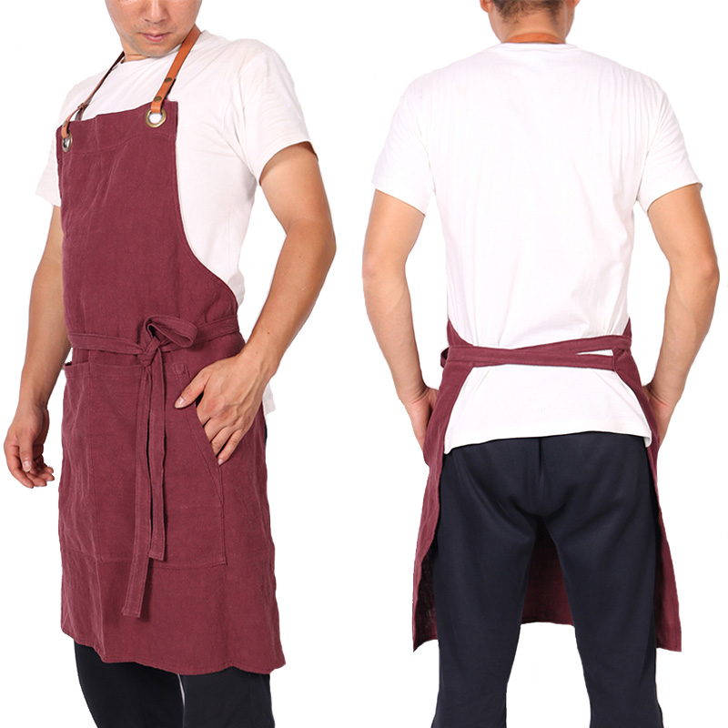 WEEYI-Fashion-Icon-Hygge-Red-Linen-Apron-For-Woman-Man-With-Leather-Strap-For-Bartender-Bakers (1)