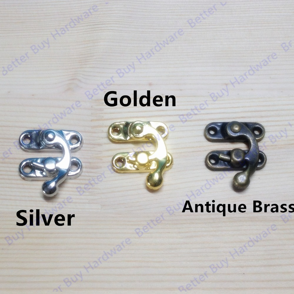 29*33mm  Antique Brass Metal Hook Purse Hasp Lock Vintage Wooden Jewelry Box Latches Clasp Hasps Buckle ancient swing hasp jewelry wooden box lock catch latches box buckle clasp hardware alloy buckle