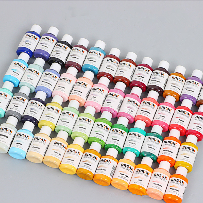 Free shipping new 50 colors chooseing 30ml Bright light colorful paint Leather edge oil edge dye Highlights edge paint DIY in Leathercraft Accessories from Home Garden
