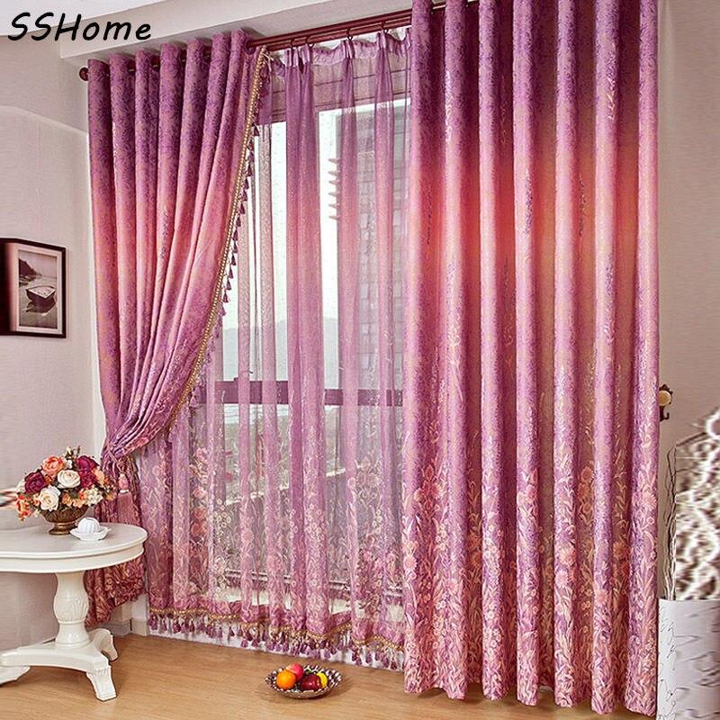 Provence Lavender Rustic Bedroom Quality Ziziphus Jacquard Curtains Window  Screening