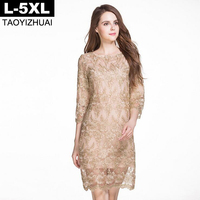 Gold Color Women Dress 2016 Autumn O Neck Lace Embroidery 3 4 Sleeve Elegant A Line