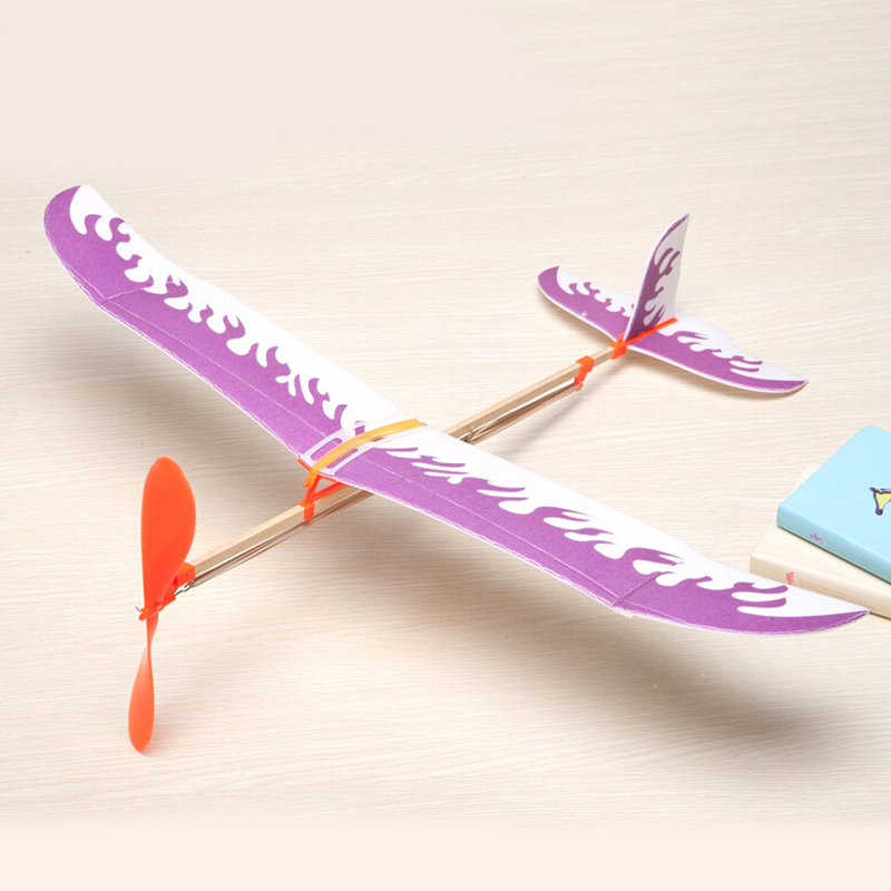 US $1 95 32% OFF|1Set Rubber Band Airplane Paper Jet Glider Models Kids  Learning Educational Machine Handmade DIY Science Model Toys For  Children-in
