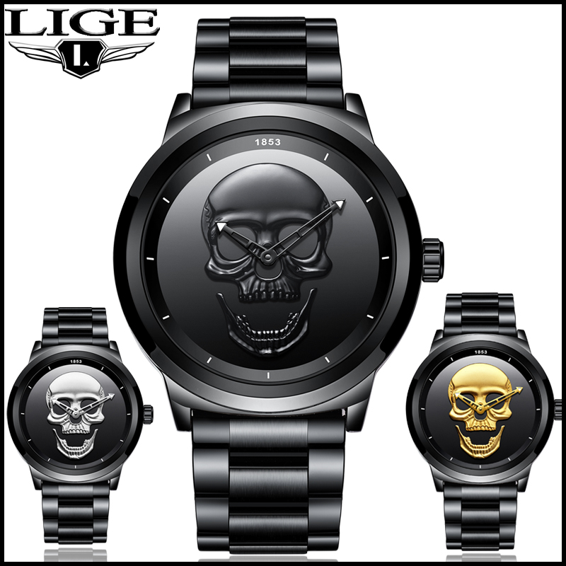 2018 Cool Punk 3D Skull hombre reloj marca LIGE lujo acero cuarzo hombre relojes impermeable Retro moda Oro Negro reloj