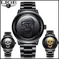 2018 kühlen Punk 3D Schädel Männer Uhr Marke LIGE Luxus Stahl Quarz Männlichen Uhren Wasserdicht Retro Mode Gold Schwarz Uhr relogio