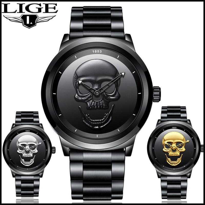 2018 legal punk 3d crânio relógio masculino marca lige luxo aço quartzo relógios masculinos à prova dretro água retro moda ouro preto relógio relogio