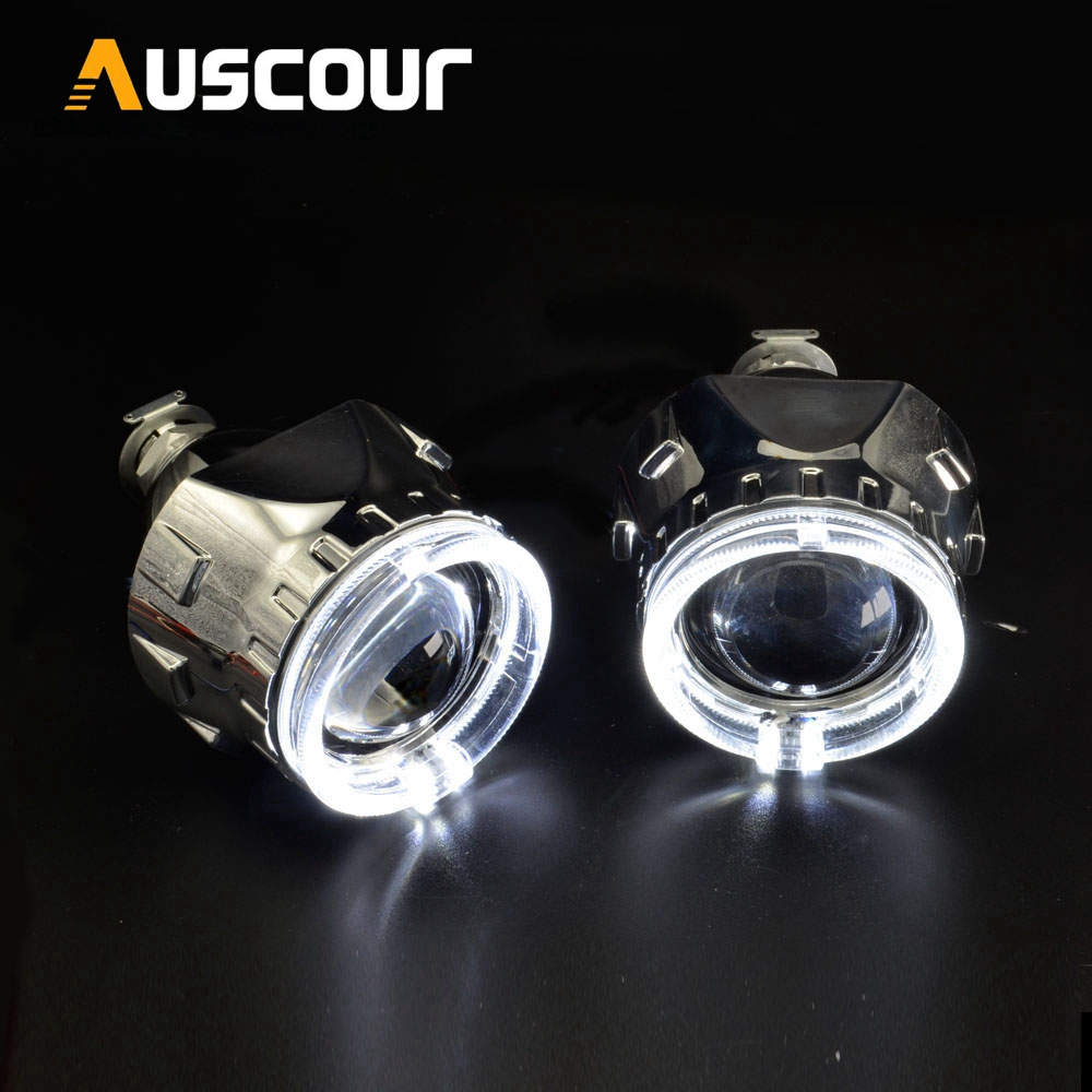 2pcs h1 bixenon Projector lens white DRL with yellow turning signal function led day running angel