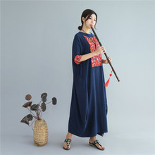 Summer Autumn Large Size Cotton linen womens dress China national style Chinese Style leisure long Loose gown robe