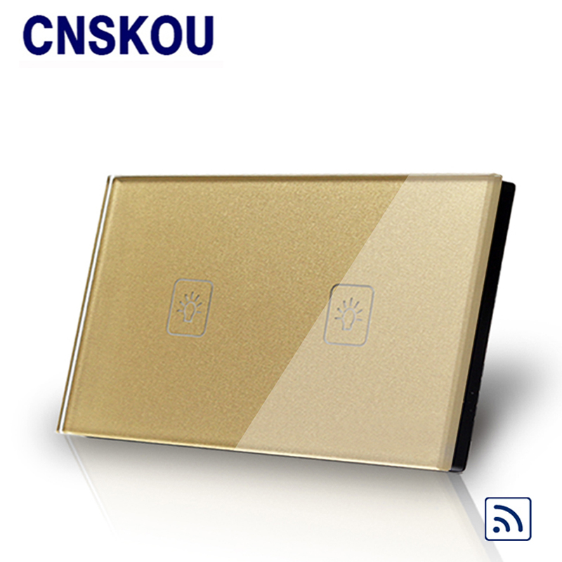 Cnskou US 2gang remote touch switch screen crystal glass panel smart wall switches wall light switch gold for LED lamp wall light free shipping remote control touch switch us standard remote switch gold crystal glass panel led 50hz 60hz