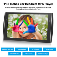 11.6 Inches Car Headrest MP5 Player HD Auto Monitor Ultra Thin Rear Seat Entertainment System Support FM HD Input U Disk Reading