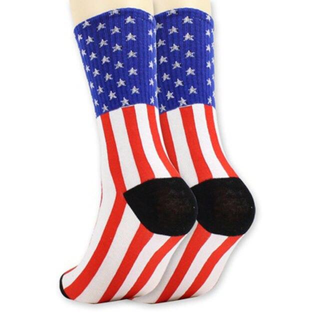 1 Paire De Mode Drapeau Américain Hommes Coton Stars   Stripes USA  Chaussettes Old Glory Casual c4eb6948c05