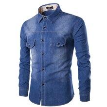 New Mens Jean Shirt 2016 Cotton Slim Fit Brand Casual Denim Shirts Long Sleeve Male Cowboy Shirt Camisa Jeans Masculina Size 6XL