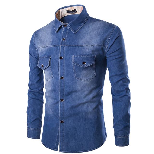 Nuevos Mens Camisa 2016 Algodón Slim Fit Marca Casual Denim Jean camisas de Manga Larga Hombre Camisa de Vaquero Vaqueros Camisa Masculina Tamaño 6XL