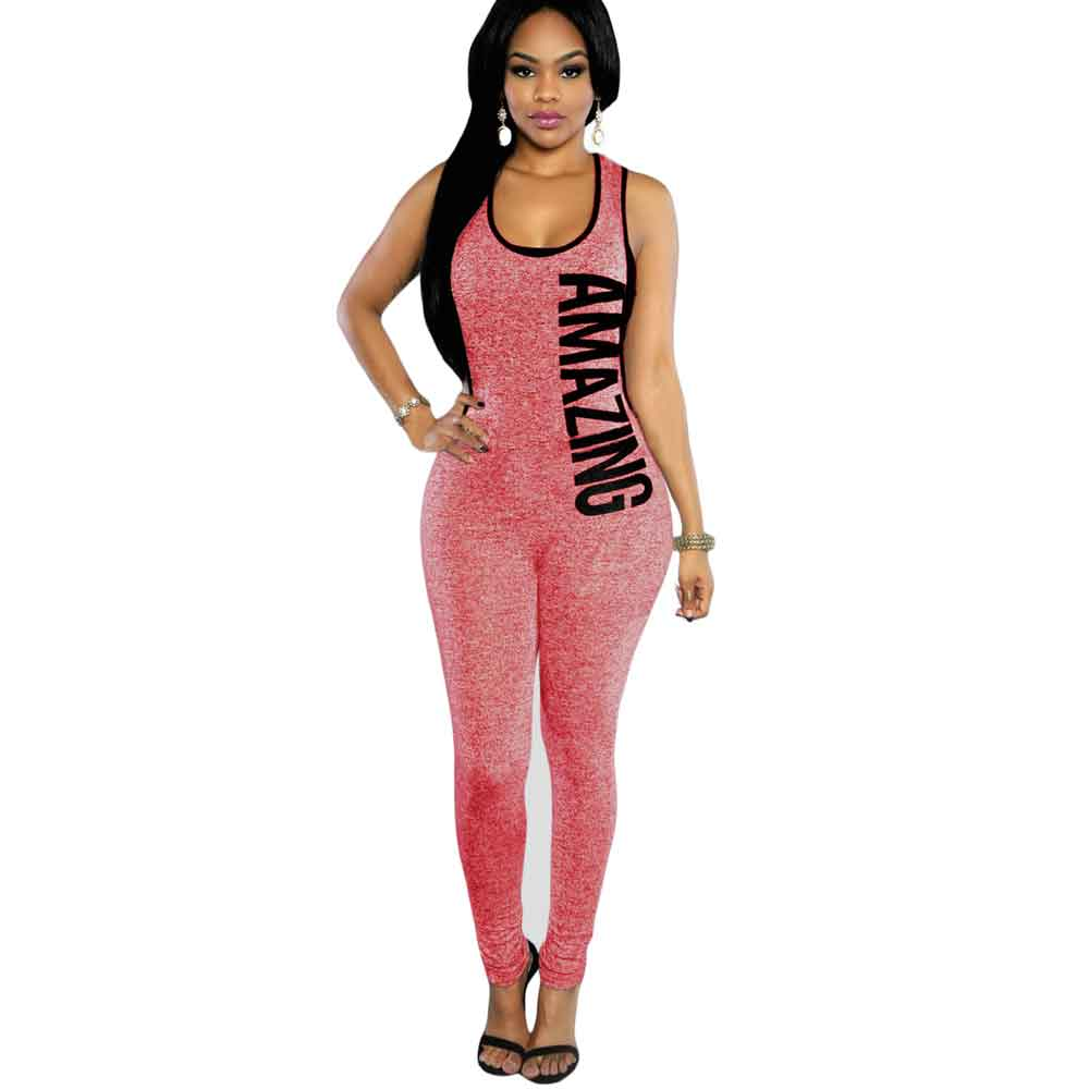 Summer Overalls For Women 2017 Red Plunging V Back Letter Print Sleeveless  Rompers Womens Jumpsuit( - Popular Red Sequin Jumpsuit-Buy Cheap Red Sequin Jumpsuit Lots