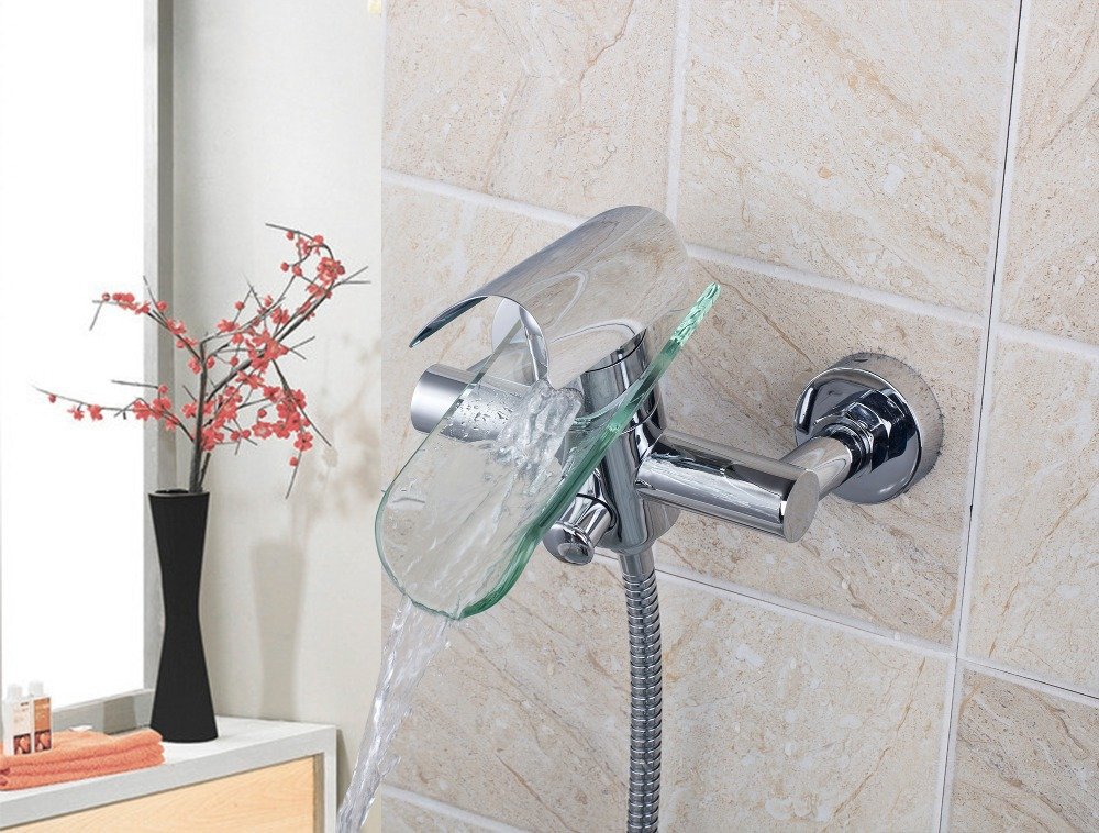 8208/11 Round Wall Mount Single Handle Chrome Brass Body+Rainfall Hand Spray+Shower  Hose Bathtub Sink Torneira Mixer Tap Faucet  In Shower Faucets From Home ...