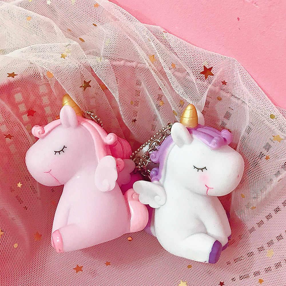 Fancy&Fantasy Arco Iris PVC Animal llavero con unicornio para hombres mujeres bolsa ornamento llavero del teléfono Porte llavero de clave bolsa Decoración