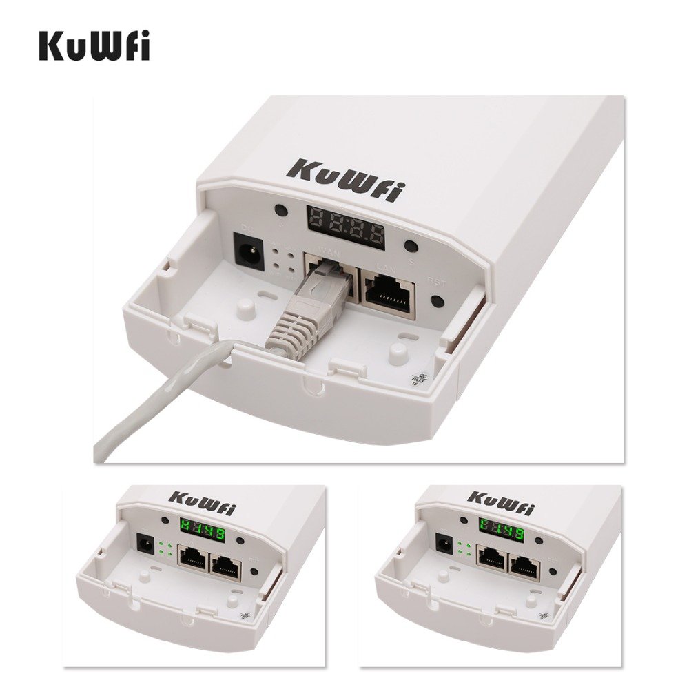 Image 5 - Kuwfi 3Km 2.4G 300Mbps Wifi CPE Router Wifi Repeater Wifi Extender Wireless Bridge Access Point For Wireless Camera LED Display-in Wireless Routers from Computer & Office