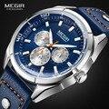 Megir Männer der Mode Leder Quarz Uhren mit Kalender Datum Woche 24-stunde Luminous Armbanduhr für Mann Jungen Blau 2072GBE-2