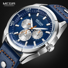Megir Männer der Mode Leder Quarz Uhren mit Kalender Datum Woche 24 stunde Luminous Armbanduhr für Mann Jungen Blau 2072GBE 2