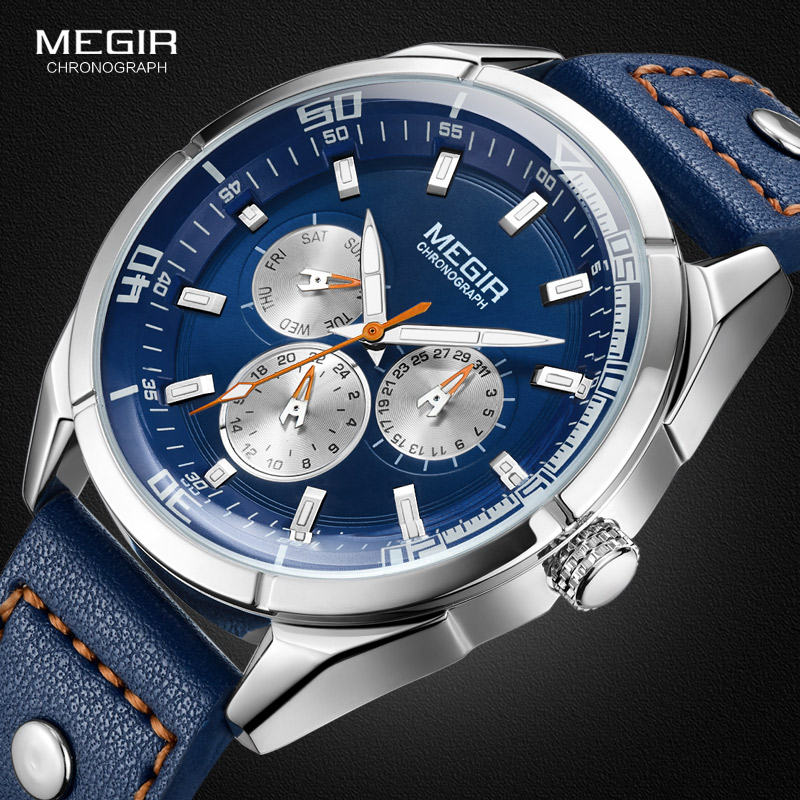 Megir Men's Fashion Leather Quartz Watches with Calendar Date Week 24-hour Luminous Wristwatch for Man Boys Blue 2072GBE-2