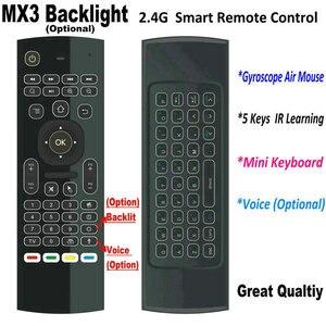 Image 1 - Tikigogo 2.4G MX3 Pro arkadan aydınlatmalı hava fare klavye rusça sesli 5 IR öğrenme Android akıllı TV kutusu dizüstü PC uzaktan kumanda