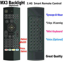 Tikigogo 2.4G MX3 Pro backlight Air Mouse keyboard Russian Voice 5 IR Learning for Android Smart TV Box Laptop PC Remote Control