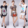 women's t shirt 2015 new large size women loose casual round neck T-shirt free shipping